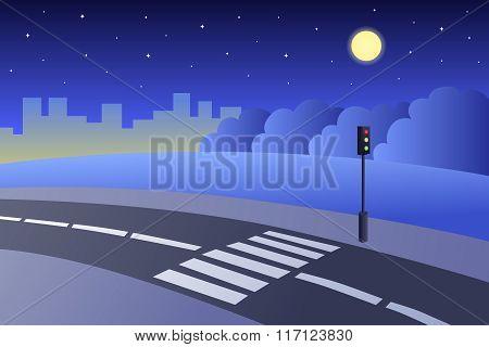 Crosswalk road landscape summer night illustration vector