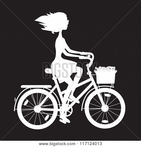 Stencil Girl On Bike