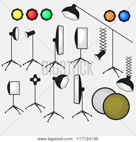 Set Of Photo Studio Equipment, Light Soft, Camera And Optic Lenses Flat Icons
