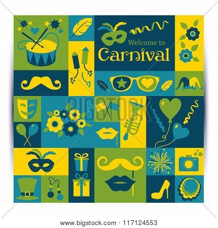 Bright Vector Carnival Card