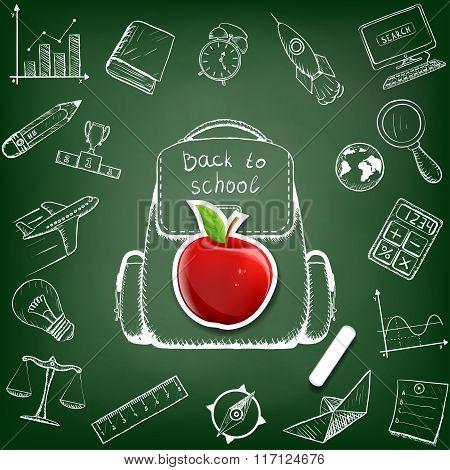 School Bag. Doodle Image.