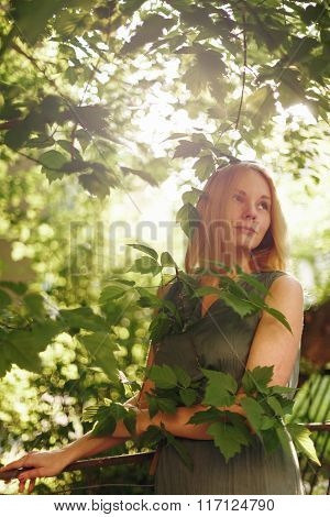 Young Romantic Female In Summer Evening