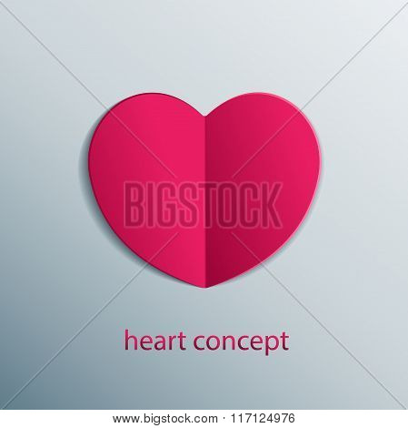 Paper origami heart concept. Carved sticker shape of vector isolated heart.