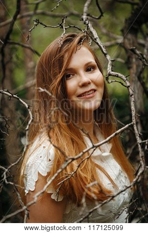 Mysterious Woman In Forest, Looking In Camera