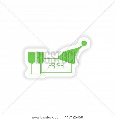 paper sticker on white background clock wineglasses