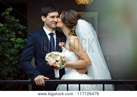 Bride Embracing Lovers Kissing On The Stairs
