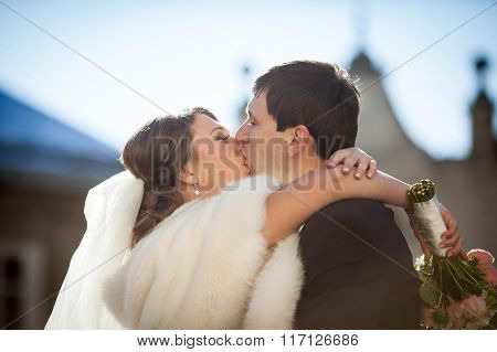 romantic love charming young couple passionately kissing