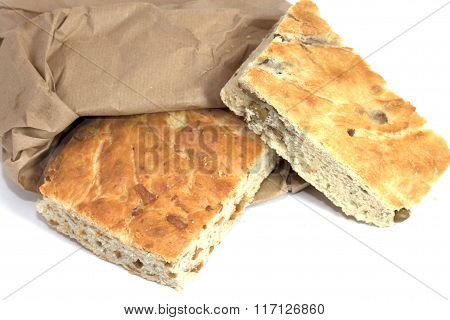 savory focaccia with olives and cic