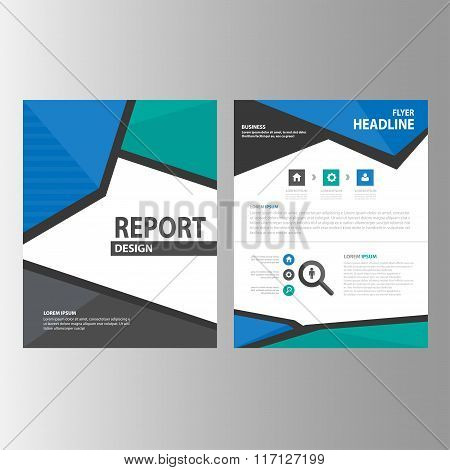 Blue green brochure, leaflet, booklet, flyer templates flat design set