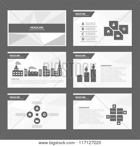 Black white presentation templates Infographic elements flat design set