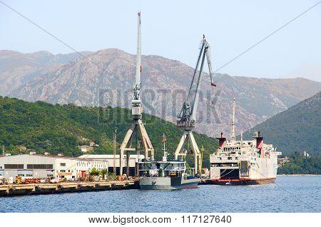 Shipyard In Bijela, Bay Of Kotor, Montenegro