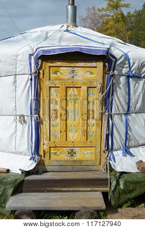 The door with traditional mogolian pattern