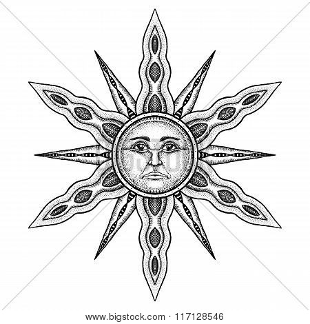 Alchemy Symbol Of Sun - Vector Illustration Stylized As Engraving