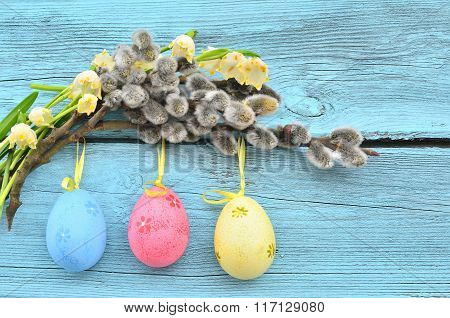 Easter Eggs Hanging On Ribbons And Pussy-willow