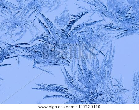 Ice Frost On Winter Glass