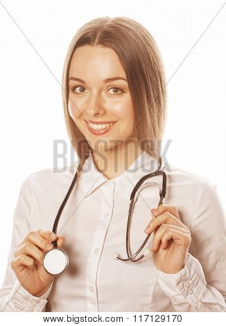 young pretty woman doctor with stethoscope on white background