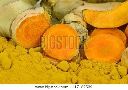 Turmeric (curcuma Longa L.) Root And Turmeric Powder For Alternative Medicine ,spa Products And Food