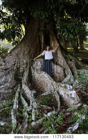 Woman Near Giant Tropical Tree