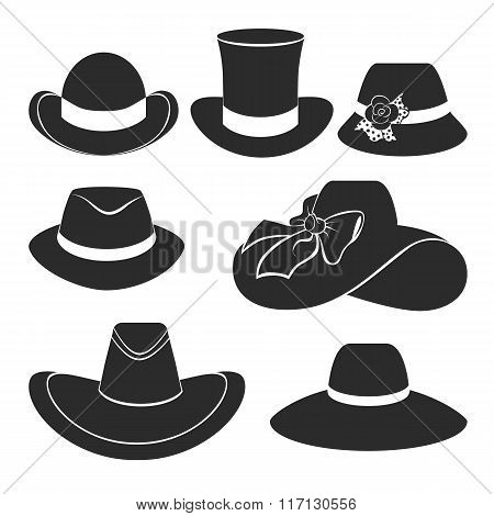Vector Black Hats Icons Set