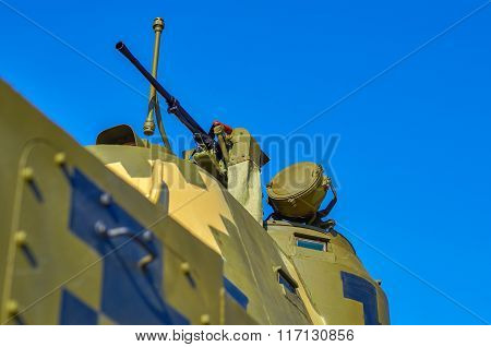 One Machine Gun On A Armoured Carrier