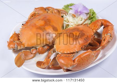 Fresh Big Steam Crab On The Plate