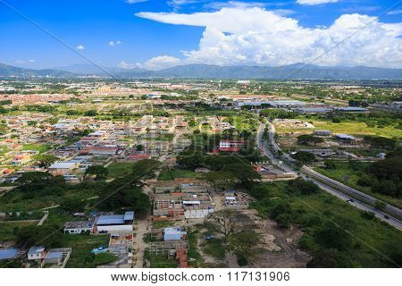 Aerial View Of The Poor Area Of ??the City