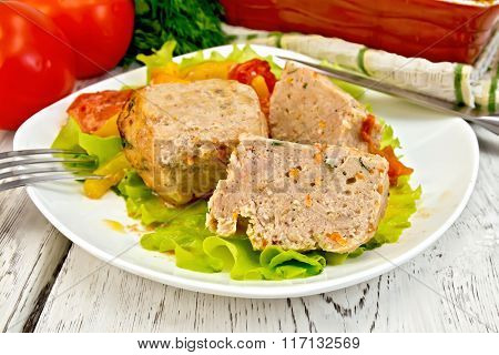 Cutlets of turkey in plate on board