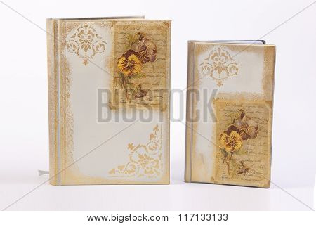 notes with floral decoupage