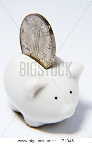 Piggy Bank And  Chinese Coin