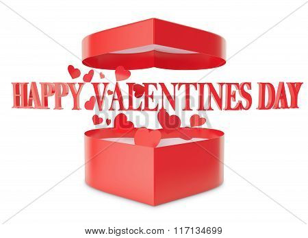 Happy Valentines day open gift box and flow hearts