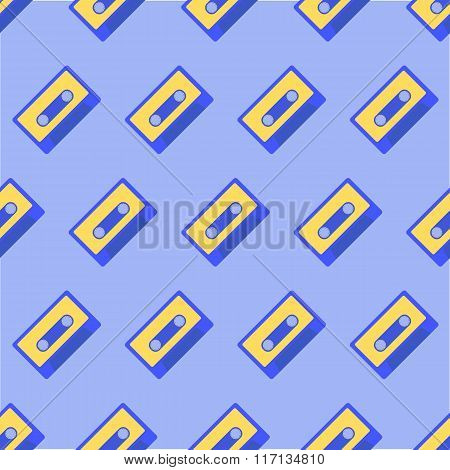 Seamless Pattern with retro audio cassettes.