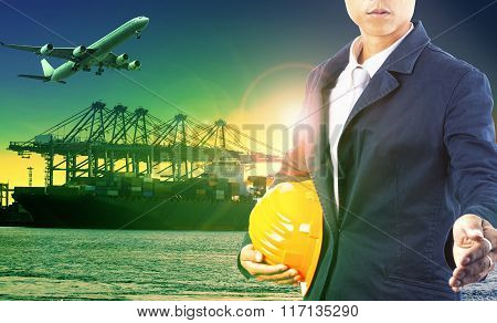 professional man in import export shippin port and freight cargo logistic industry
