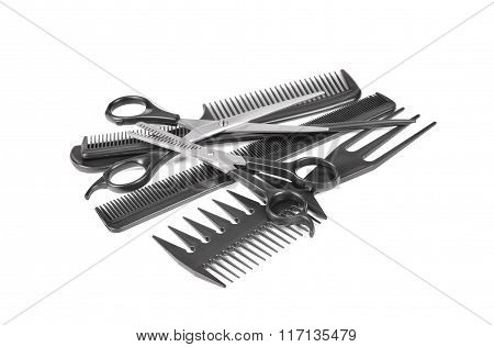 Hairdressing Tools Isolated On White Background