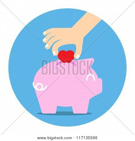 piggy bank collecting heart
