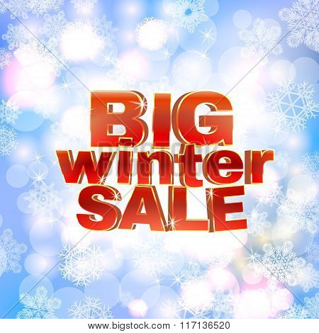 Winter sale words, 3d red phrase