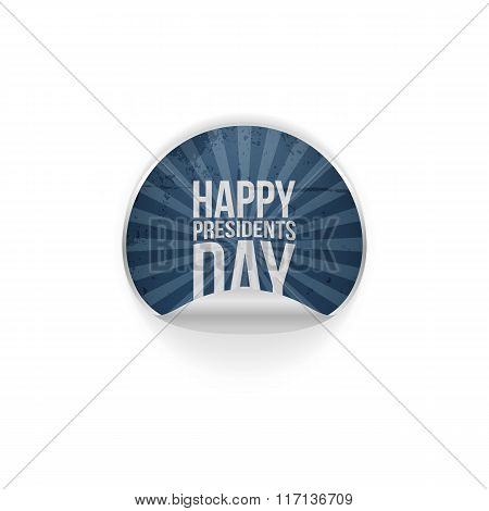 Happy Presidents Day realistic vector blue Sticker