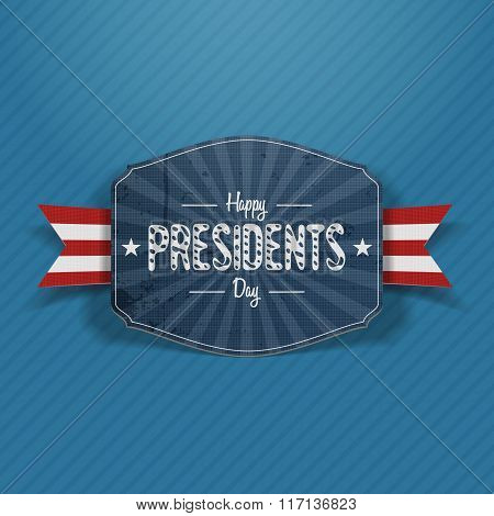 Presidents Day greeting vector blue Banner