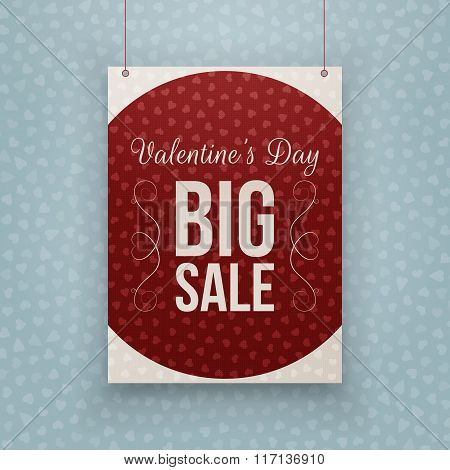 Valentines Day big Sale Text on hanging Banner