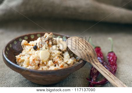 Rice With Meat, Garlic, Spices And Vegetables