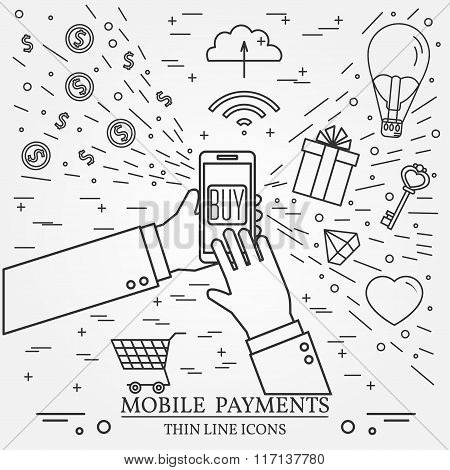 Mobile Payments Using A Smartphone. .online Shopping Concept For Web Design And Application Interfac
