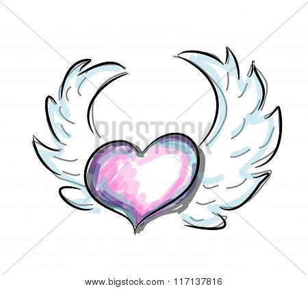 Flying Colorful Heart