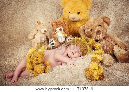 Little Newborn Baby In A Knitted Cap Sleeping  Near  Teddy Bears Toys. Concept Of Happy Childhood An