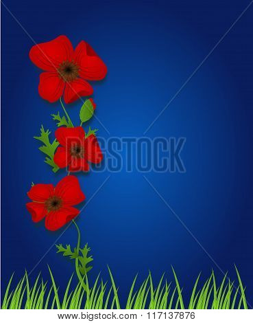Blue Background With Red Weeds
