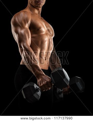 Close-up Of Athletic Man Pumping Up Muscles With Dumbbell