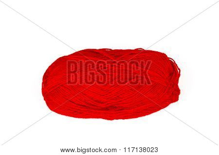 Red yarn. Isolation.