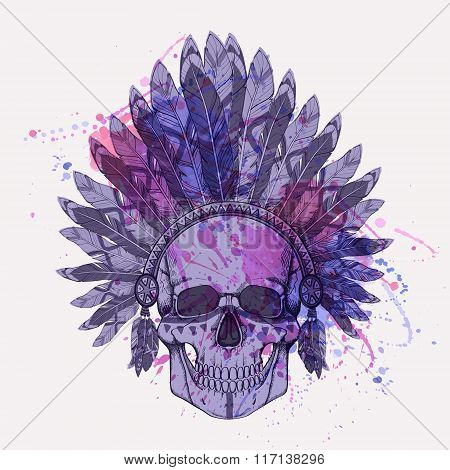 Vector grunge illustration of human skull in native american indian chief headdress