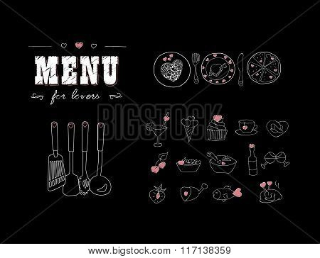 Menu for lovers. Foods with hearts. Happy Valentine's day. Doodle decor elements. Hand drawn.
