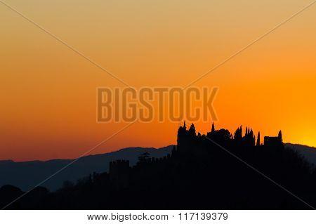 Castle Silhouette At Sundown