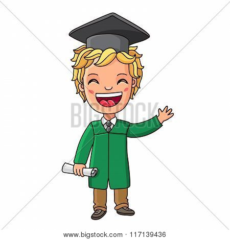 Kid In A Suit With Graduate Diploma