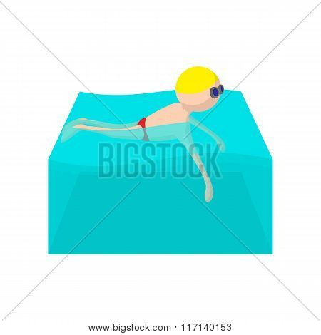 Swimmer cartoon icon